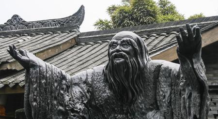 ebony: Confucius ebony sculpture in chengdu, china Stock Photo