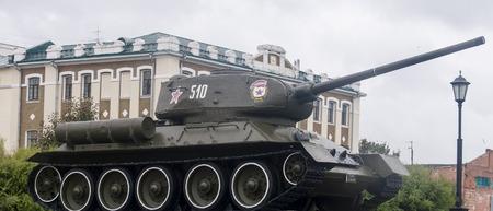 exhibit: Tank on exhibit in Kremlin in Nizhny Novgorod, Russian Federation Editorial