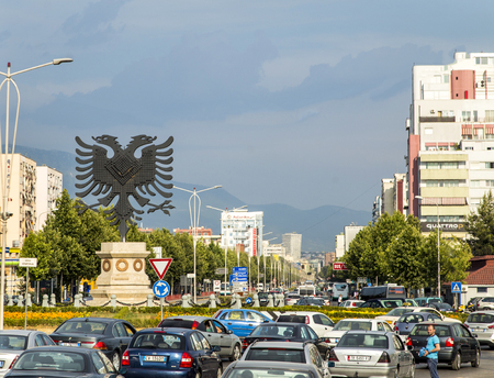 Landscape view of traffic jam in Tirana, Albania