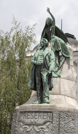 the sculpture of Preseren in Ljubljana ,Slovenia