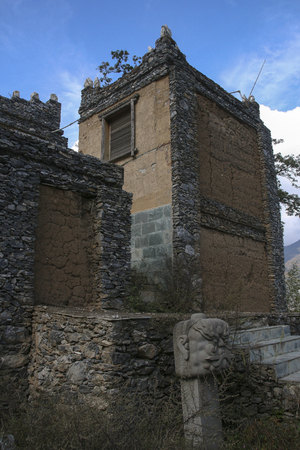 stone building at Turnip village in sichuan,china 에디토리얼