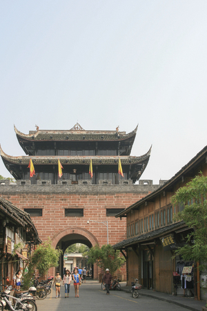 Lin quong ancient town in china 에디토리얼