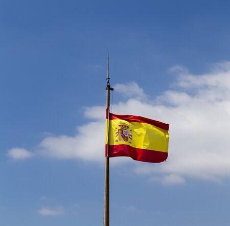 Flag of spain at santa barbara , alicante,spain