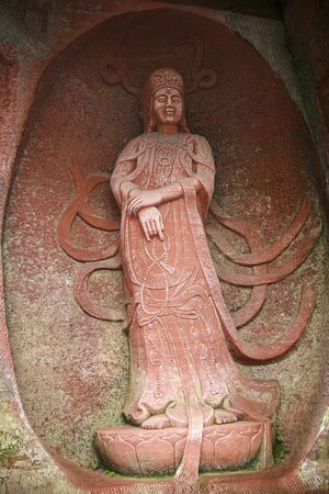the sculpture of buddhist in a temple, china