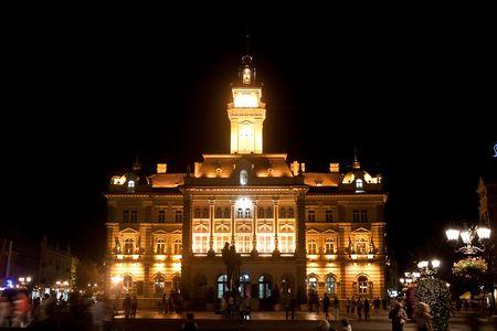 governor: city hall, night, state, house, capital, building, capitol, governor, novi sad, serbia, goverment, nacional, political Stock Photo