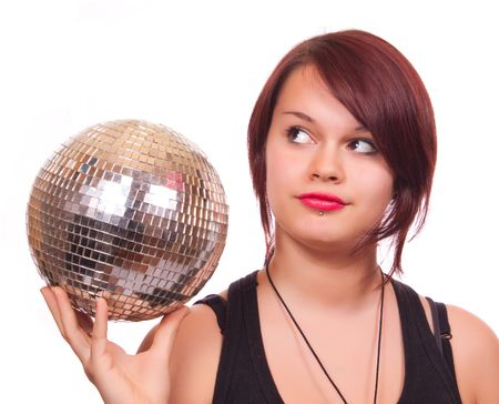 cute girl with red lips holding discoball photo