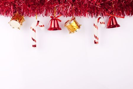 christmas bells, drums , balls on white background photo