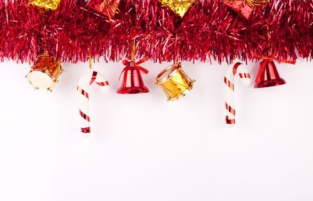 christmas bells, drums , balls , boxes on white background photo