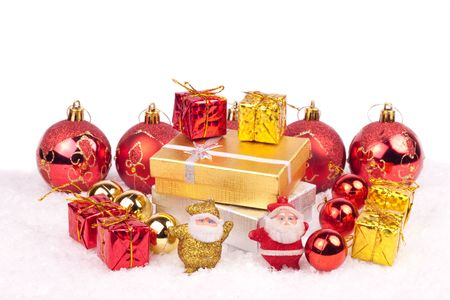 gold and red combination of xmas ornaments photo