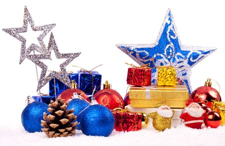 red, blue and gold christmas decoration - isolated on white photo