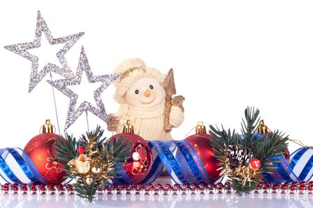 snowman toy, xmas balls and silver stars isolated on white Stock Photo - 6064249