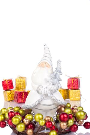 coronet: santa claus figure in coronet, gifts in background Stock Photo