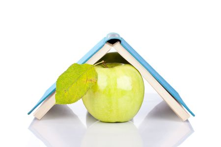 opened book and green apple with reflection on white Stock Photo - 6064319