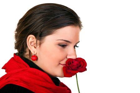 beautiful smiling woman holding a red rose photo