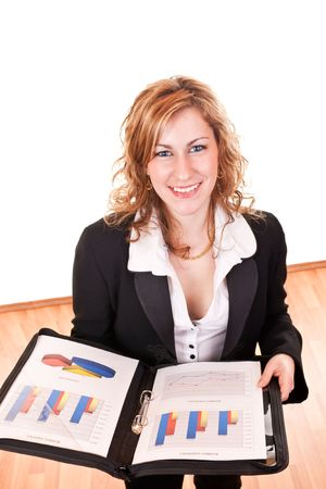 young  usinesswoman smiling and holding documents Stock Photo - 6635901