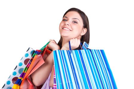 happy young woman  with shopping paper bags photo