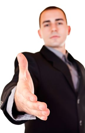 good deal: businessman is giving hand for good deal Stock Photo