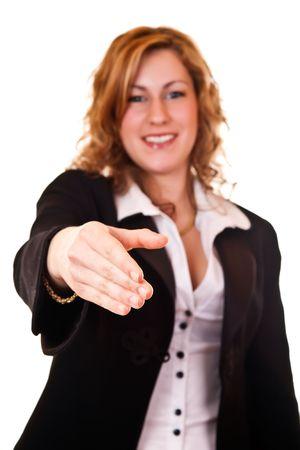 focus on businesswomans hand on white background photo