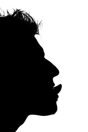 close-up of a mans face with tongue sticking out photo