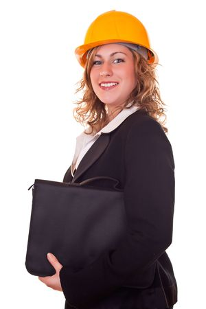 smiling businesswoman with helmet and briefcase Stock Photo - 6786196
