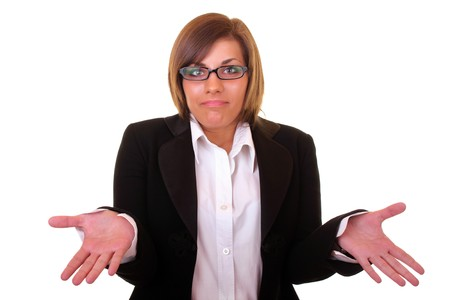 young attractive and confused businesswoman on white background photo