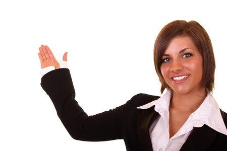 sexy young businesswoman in black suit presenting something Stock Photo - 6928178