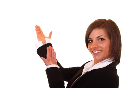 sexy young businesswoman in black suit presenting Stock Photo - 6928184