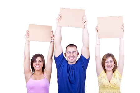 three young happy people holding blank cardboards Stock Photo - 7116815