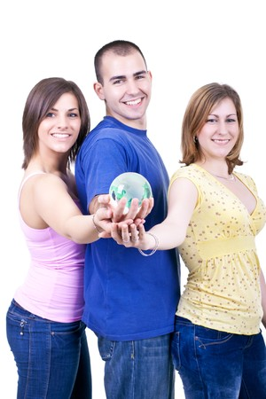portrait of three young students holding globe in hands photo