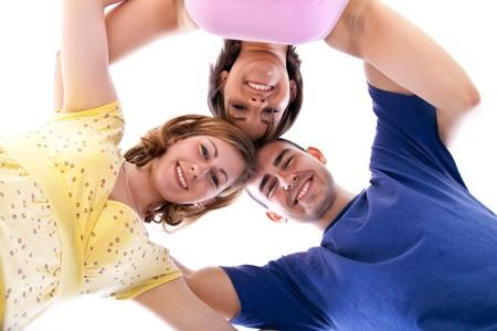 socializando: Grupo de adolescentes felices en c�rculo ? ver desde abajo