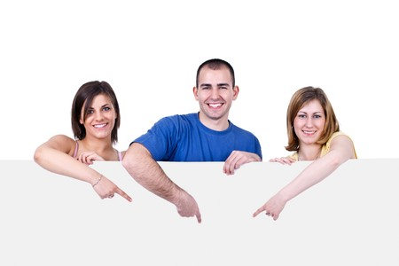advertisment: three young happy people holding a blank white card