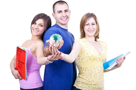 three young smiling students with books holding globe Stock Photo - 7159281