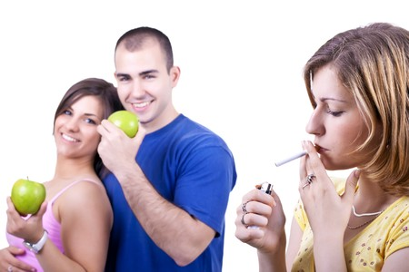 young people with healthy and unhealthy choices  photo