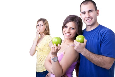 young man and woman choosing healthy lifestyle photo
