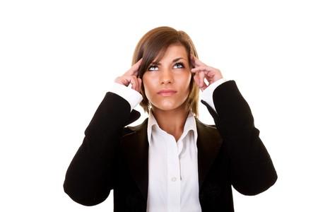 beautiful young businesswoman thinking on white background photo