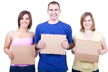 three young happy students holding blank papers photo
