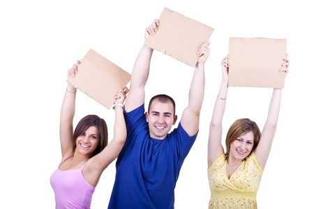 three young happy students holding blank cardboards photo