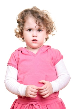 portrait of a beautiful little girl with curly blond hair photo