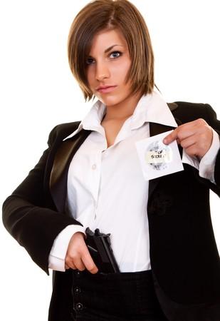 young attractive detective woman guarding top secret photo