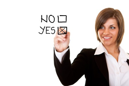 young businesswoman decide for positive decision Stock Photo - 7248187