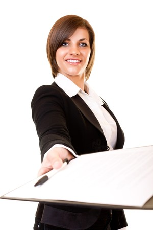 woman with document: young  businesswoman giving contract for you to sign