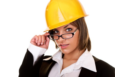 young sexy businesswoman with helmet and glasses photo