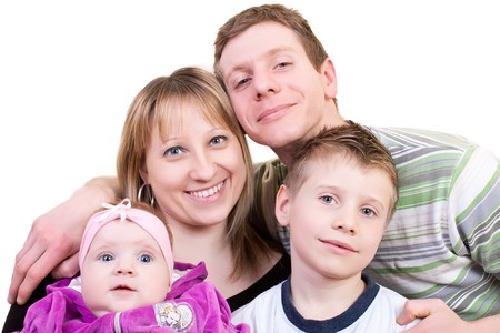 smiling happy family with baby on white background photo