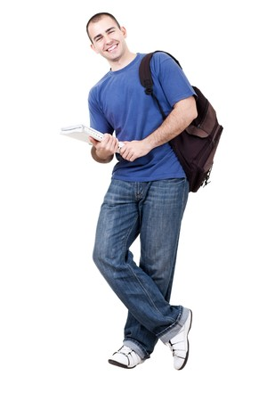 man holding book: young male student carrying bag and books on white