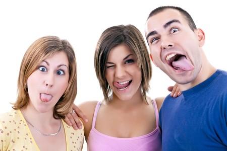 caras chistosas: fotos divertidas de los tres j�venes haciendo caras tontos  Foto de archivo