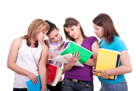 group of teens: group of young teenagers studying on white