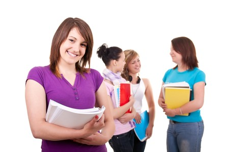 portrait of a female student and her friends in back Stock Photo