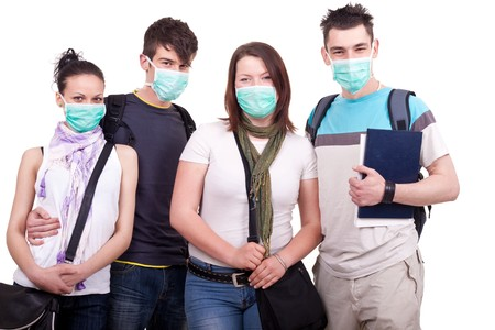 anthrax: group of young people with masks for protection Stock Photo