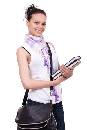 portrait of a pretty student with books on white Stock Photo - 7631592