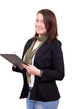 portrait of a pretty student with notes on white Stock Photo - 7626580